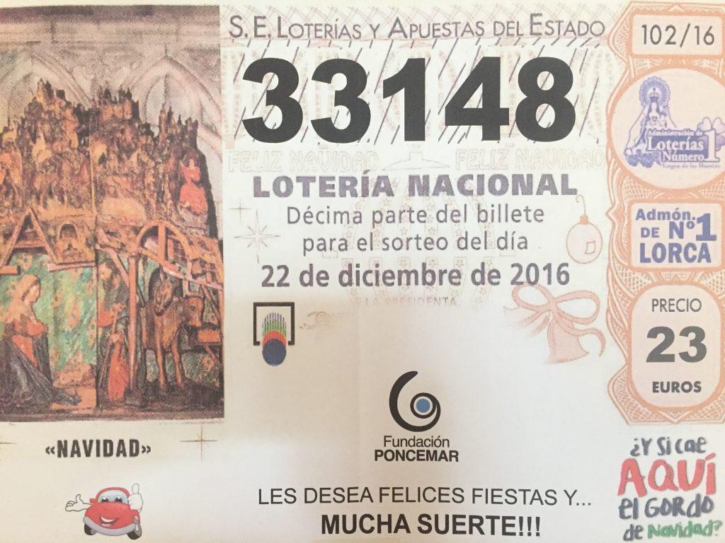 Número para el sorteo la Loteria 33148